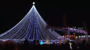 В Лиде разноцветными огнями засияла елка и зажглась праздничная иллюминация