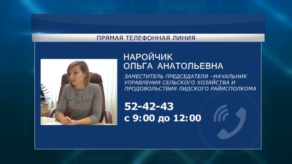 «Прямую телефонную линию» в Лиде проведет Ольга Наройчик