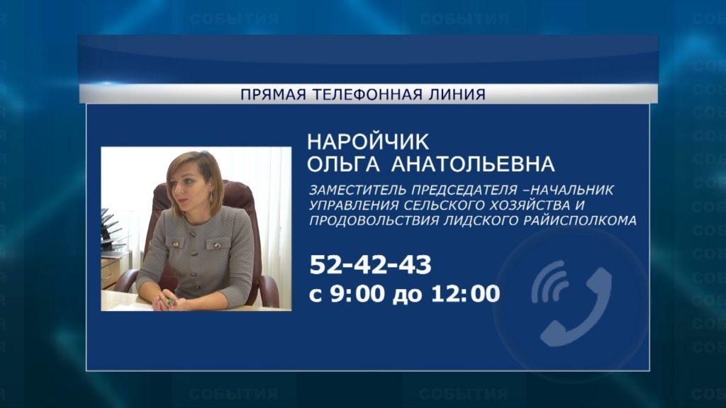 На этой неделе в субботу «прямую телефонную линию» в Лиде проведет Ольга Наройчик